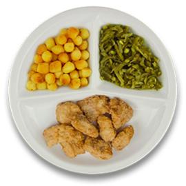 Gebakken kibbeling met jus, gebakken aardappelen, snijbonen  ZONDER TOEGEVOEGD ZOUT & KALIUMBEPERKT