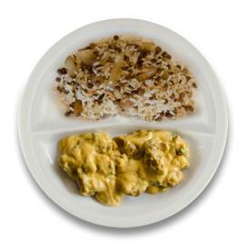 Kip tandoori, rijst met linzen en ui