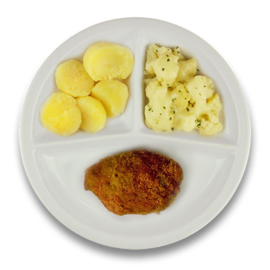 Kipgehakt cordon bleu met jus, gekookte aardappelen, bloemkool à la crème