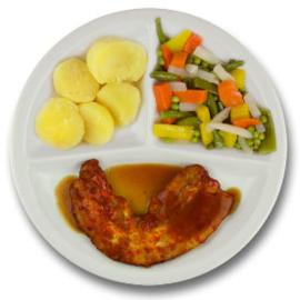 Speklapje met vleesjus, gekookte aardappelen, gemengde groenten ZONDER TOEGEVOEGD ZOUT & KALIUMBEPERKT