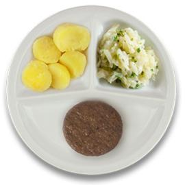 Veg. hamburger met jus, gekookte aardappelen, witte kool à la crème kruiden VEGETARISCH