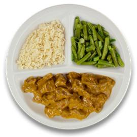 Boeuff stroganoff, witte rijst, sperziebonen ZONDER TOEGEVOEGD ZOUT