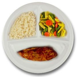 Kipfilet met kruidenjus, witte rijst, wokgroenten  ZONDER TOEGEVOEGD ZOUT & KALIUMBEPERKT