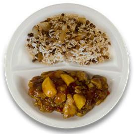 Kip pilav perzik, rijst met linzen en ui
