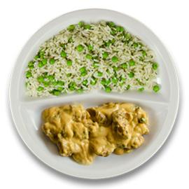 Kip tandoori, kruidenrijst met doperwten