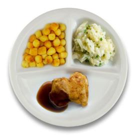 Gebakken kippendijlapje jus, gebakken aardappelen, witte kool à la crème kruiden