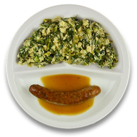 Varkenssaucijsje met mosterdjus, stamppot andijvie (v)