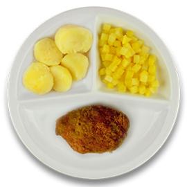 Kipgehakt cordon bleu met jus, gekookte aardappelen, koolraap