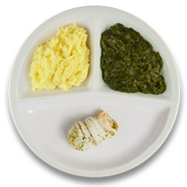 Tongschar-zalm met hollandaisesaus, aardappelpuree en spinazie a la crème