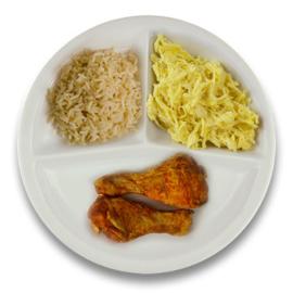 Gemarineerde kipdrumsticks, volkoren rijst, Witte kool met kerrie-appel