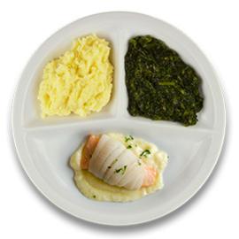 Tongschar-zalmrol met botersaus, aardappelpuree en spinazie à la crème
