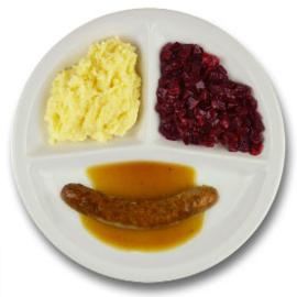 Rundersaucijsje met vleesjus, aardappelpuree, rode bieten LACTOSE BEPERKT
