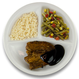 Speklapje teriyakisaus, witte rijst, wokgroente (v)