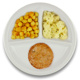 Veg. kaasburger met jus, gebakken aardappelen, bloemkool a la crème
