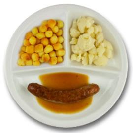 Varkenssaucijsje met mosterdjus, gebakken aardappelen, bloemkool