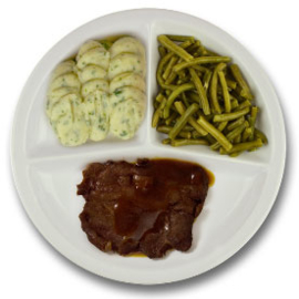 Rundersukade met vleesjus, aardappelpuree met persillade, sperziebonen ZONDER TOEGEVOEGD ZOUT