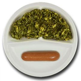 Veg. rookworst met vegetarische jus, stamppot boerenkool