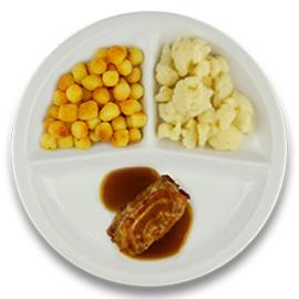 Varkensslavink met jus, gebakken aardappelen, bloemkool ZONDER TOEGEVOEGD ZOUT