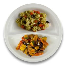 Veg. groentehachee met courgette , pastaschelpjes met pesto