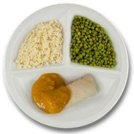 Kabeljauw met pompoenstoof, witte rijst, doperwten LACTOSE BEPERKT