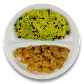 Runderrendang, rijst met zwarte boontjes en mint ZONDER TOEGEVOEGD ZOUT