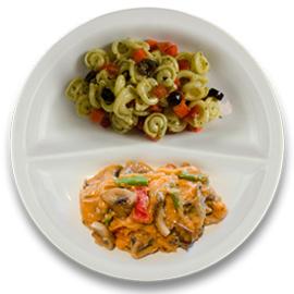 Veg. stoofpotje met paddenstoelen, pastaschelpjes met pesto VEGETARISCH