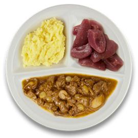Wildstoof, aardappelpuree, stoofpeertjes GLUTENVRIJ