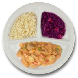 Boeuf stroganoff, witte rijst, rode kool met appel GLUTENVRIJ
