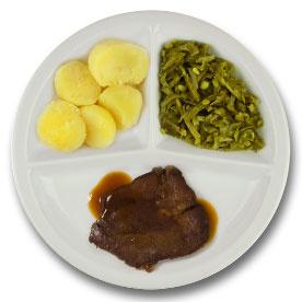 Runderlapje met vleesjus, gekookte aardappelen, snijbonen