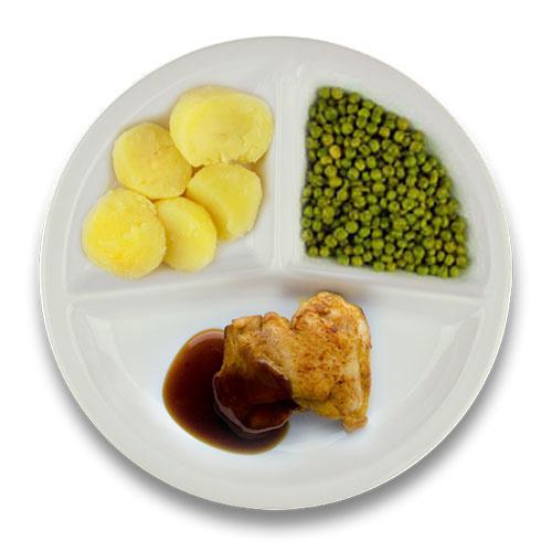 Gebakken kippendijlapje jus, gekookte aardappelen, doperwten ZONDER TOEGEVOEGD ZOUT