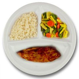 Kipfilet met vleesjus, witte rijst, wokgroenten