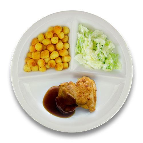 Gebakken kippendijlapje jus, gebakken aardappelen, spitskool à la crème kruiden