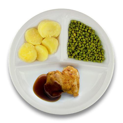 Gebakken kippendijlapje jus, gekookte aardappelen, doperwten