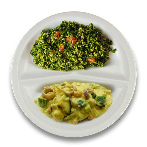 Veg. Italiaanse groentestoof, bulgur met spinazie en tomaat