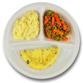 Veg. omelet met champignons, puree, wortelen met doperwten