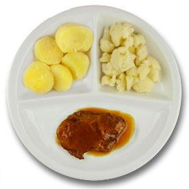 Varkensprocureurlapje met vleesjus, gekookte aardappelen, bloemkool LACTOSE BEPERKT