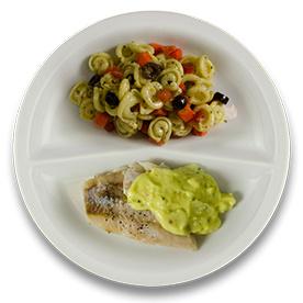 Victoriabaars met pestoroomsaus, pastaschelpjes met pesto