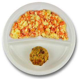 Veg. gehaktbal met vegetarische jus, stamppot hutspot