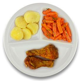 Gemarineerde kipdrumsticks, gekookte aardappelen, wortelen met peterselie ZONDER TOEGEVOEGD ZOUT