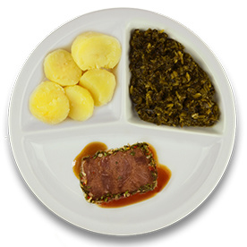 Rundercarré met kruidenjus, gekookte aardappelen, spinazie à la crème
