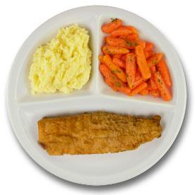 Gebakken lekkerbekje met vegetarische jus, aardappelpuree, wortelen met peterselie ZONDER TOEGEVOEGD ZOUT