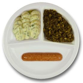 Veg. braadworst met vegetarische jus, aardappelpuree persillade, andijvie à la crème