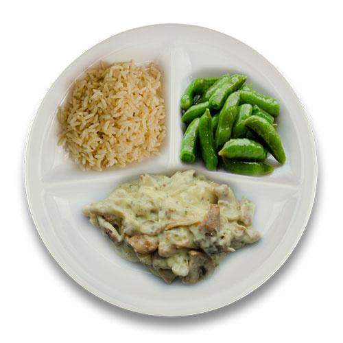 Kippenragout met peterselie, volkoren rijst, sugar snaps (suikerpeultjes) ZONDER TOEGEVOEGD ZOUT