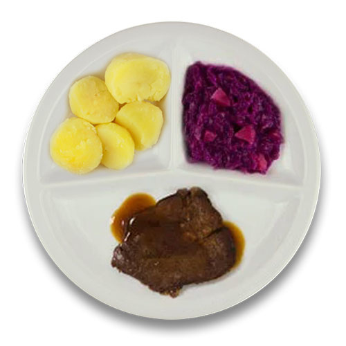 Runderlapje met jus, gekookte aardappelen, rode kool met appel