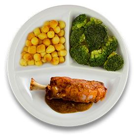 Varkensbeenhammetje mosterdjus, gebakken aardappelen, broccoli