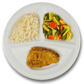 Kalkoenschnitzel met kruidenjus, witte rijst, wokgroenten LACTOSE BEPERKT