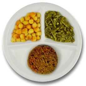 Veg. spicy bean burger met vegetarische jus, gebakken aardappelen, snijbonen