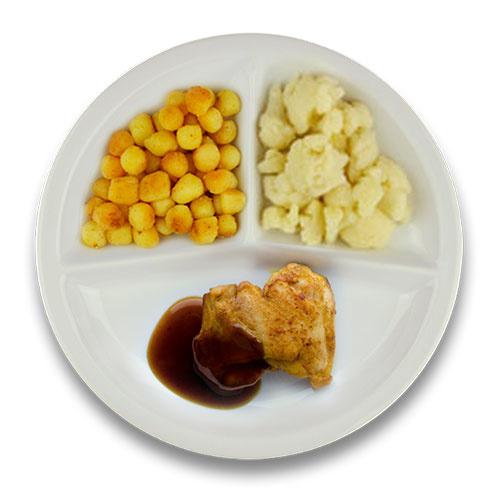 Gebakken kippendijlapje jus, gebakken aardappelen, bloemkool ZONDER TOEGEVOEGD ZOUT
