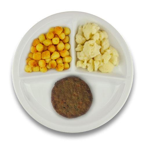 Veg. groenteburger met jus, gebakken aardappelen, bloemkool