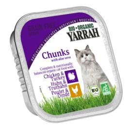 Yarrah Kattenvoer chunks kip & kalkoen in alu